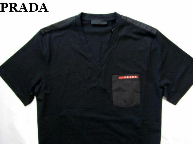 PRADA プラダ メンズ Tシャツ ブラック Vネック カットソー L【未使用】【中古】【新品】