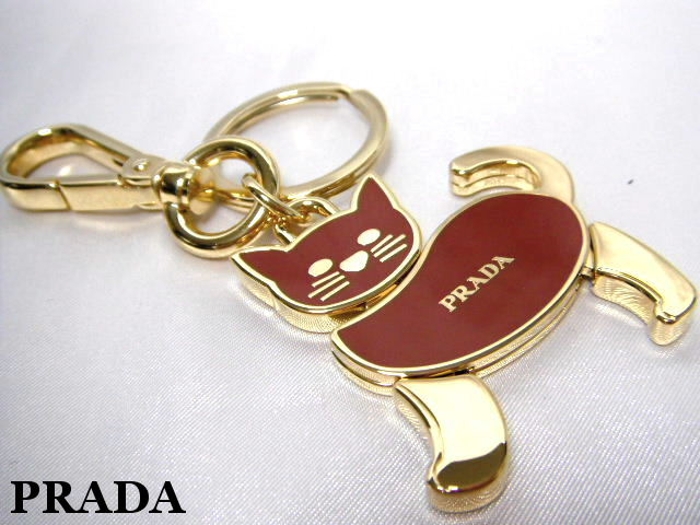 PRADA プラダ キーリング キーホルダー バッグチャーム レッド 猫 キャット【未使用】【中古】【新品】