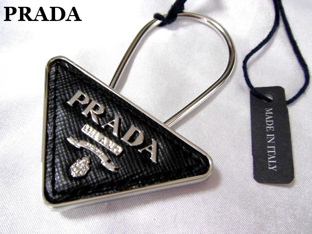 PRADA プラダ キーリング キーホルダー ブラック レザー プレート メンズ【未使用】【中古】【新品】