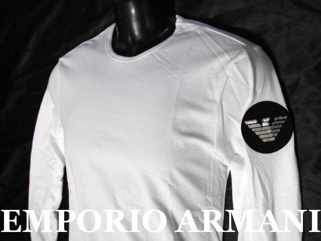 EMPORIO ARMANI 日本製エンポリオアルマーニ バックロゴ刺繍 ロンT メンズ ホワイト M 長袖Tシャツ【未使用】【中古】【新品】