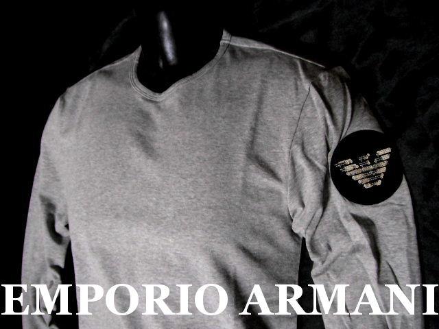 EMPORIO ARMANI 日本製エンポリオアルマーニ バックロゴ刺繍 ロンT メンズ グレー M 長袖Tシャツ【未使用】【中古】【新品】