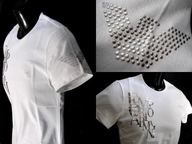 EMPORIO ARMANI 日本製 エンポリオアルマーニ Tシャツ 銀箔ロゴ スタッズイーグル メンズ M ホワイト【未使用】【中古】【新品】