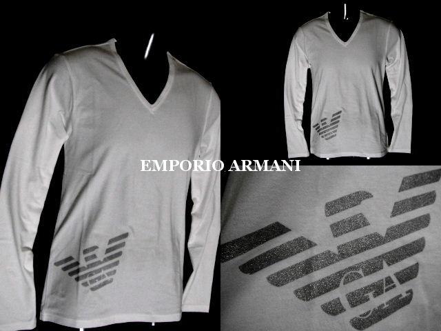 EMPORIO ARMANI 日本製 エンポリオアルマーニ ビッグイーグル ロンT メンズ XLサイズ ホワイト 長袖Tシャツ【未使用】【中古】【新品】