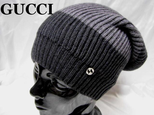 GUCCI グッチ ニットキャップ Gマーク ウール グレー ニット帽 メンズ レディース【未使用】【中古】【新品】