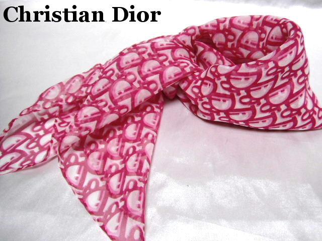 Dior ディオール スカーフ ピンク シルク【未使用】【中古】【新品】
