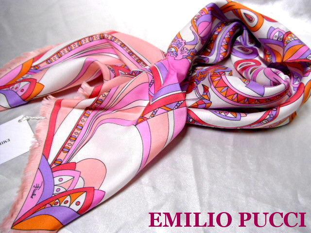 EMILIO PUCCI エミリオプッチ シルク スカーフ ピンク【未使用】【中古】【新品】