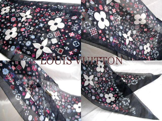 LOUIS VUITTON ルイヴィトン ストール シルク混 スカーフ モノグラム 未使用新品q35LAj4R