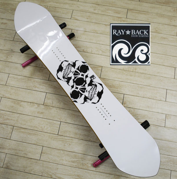 05P26Mar16『RAY BACK/レイバック』SNOWSURFING/スノーサーフィン 『RAY 157,5・レイ157,5cm』カラー :SKULL Whiteパウダーボードの新しいスタイル特典POWCANTとHOTWAX&ダリングサービス!