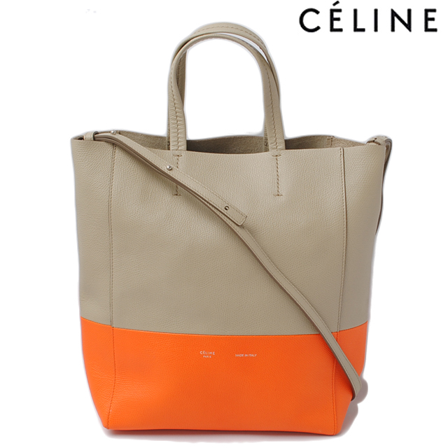 Celine Tote Bag 2 Way Cabas Small Vertical Leather Beige Series 17616 3 Xb 02bg
