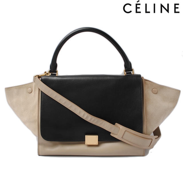 fafb1eda1942 Celine handbag   shoulder bag. CELINE Trapeze TRAPEZE 169542 black   beige 2-way  strap