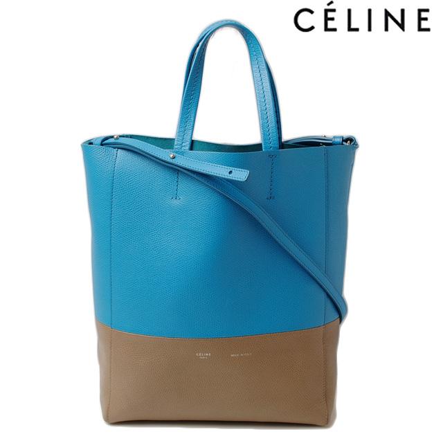 a18a305a7fd81 Celine tote bag 2-way. CELINE Cabas  SMALL VERTICAL LEATHER blue   khaki  176163