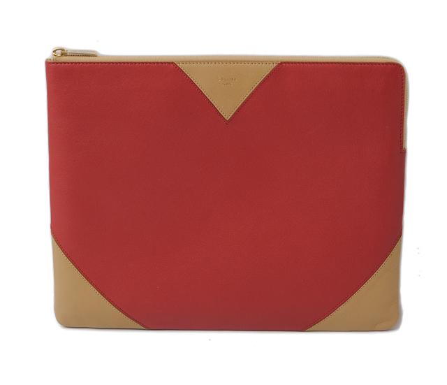 0fc724182d21 セリーヌ クラッチポーチ/クラッチバッグ/iPadケース CELINE バイカラー Red/Camel レッド