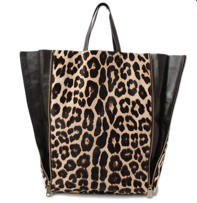 Celine Tote Bag Hippopotamuses Cabas ハラコレオパード Leopard Pattern Brown Beige