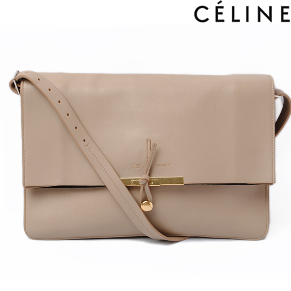 Celine Shoulder Bag Clutch 2 Way Leather Beige 169303