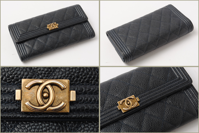 Chanel CHANEL long wallet boy channel A80286 Navy antique gold metal caviar skin