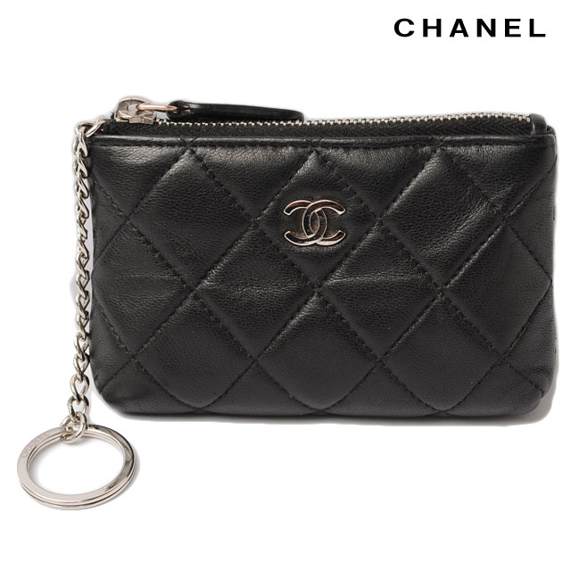 0d483bc0df05 ... card key ring with matelasse lambskin black / silver fittings. CHANEL  シャネル 折財布