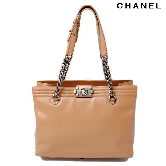 Chanel chain bag CHANEL boy Chanel leather ochre beige