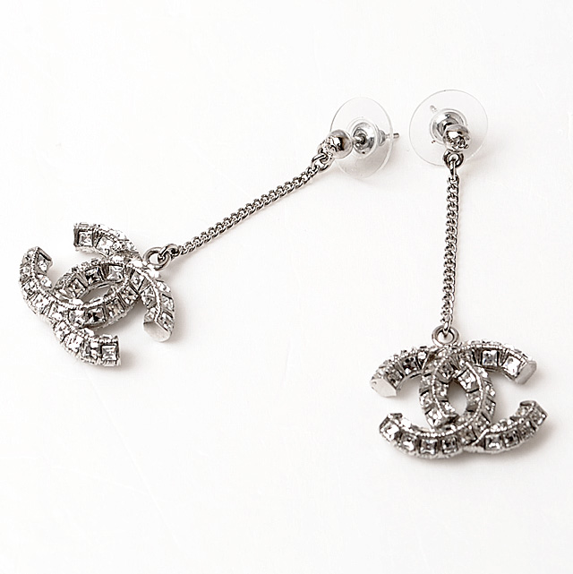 Chanel Earrings Accessories Coco Mark Rhinestones A63084 Swing Chains Silver