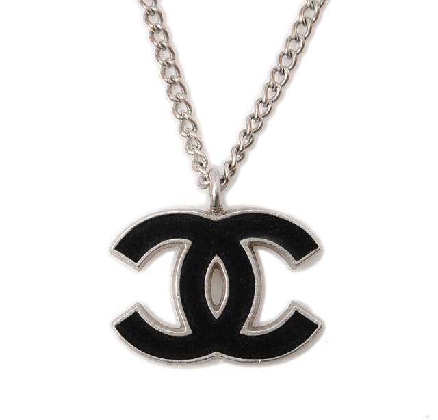 chanel necklace. chanel necklace / pendant. chanel here mark black silver