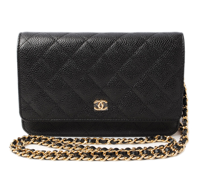 b623f183 Takeru Chanel wallet / chain wallet / shoulder bag CHANEL A33814 caviar  skin black / Bordeaux gold metal fittings