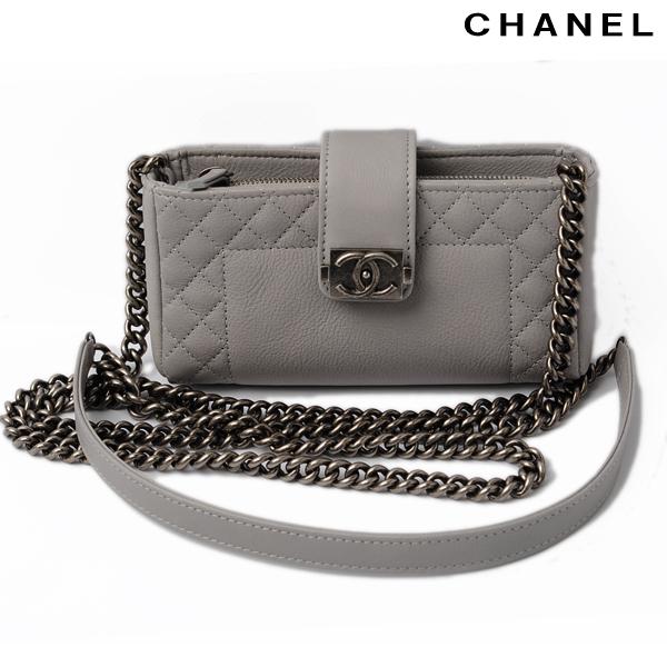 super popular 08888 61ae6 CHANEL Chanel chain shoulder bag / mobile case boy Chanel old calf light  gray