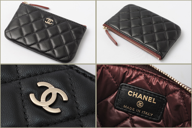 chanel zip pouch. chanel chanel pouches / card case smahocase a69523 matelasse black bordeaux gold bracket zip pouch p