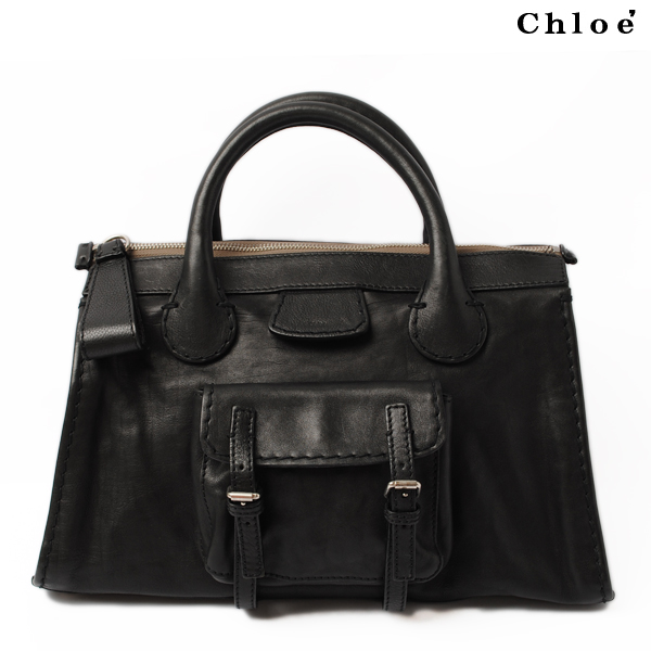 Chloe Handbag Tote Bag Edith Leather Black