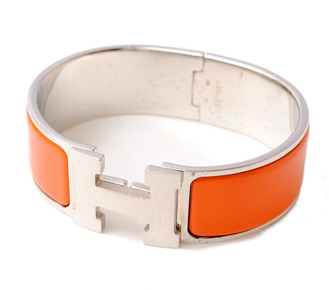 Hermes Click Gm H Bangle Orange Silver