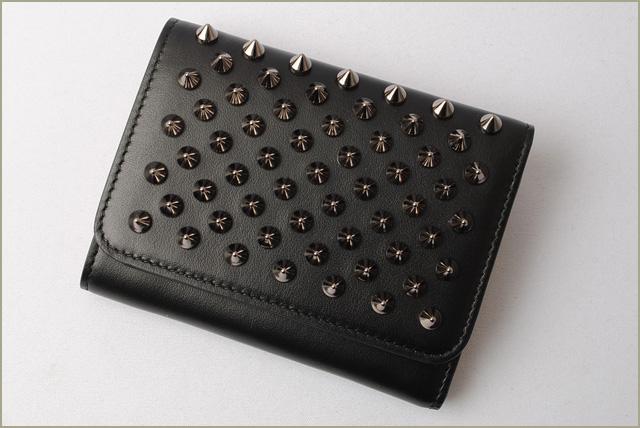 93b934d1998 クリスチャンルブタン wallet Christian louboutin fold wallet /Macaron Mini Wallet  BLACK/GUNMETAL black 3165040 B078