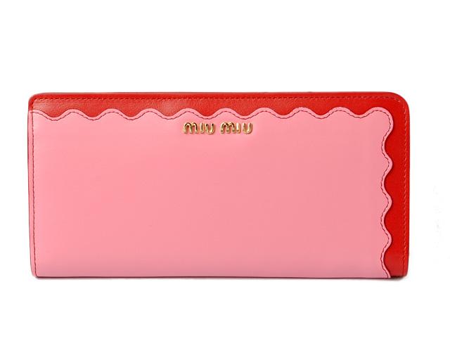 ミュウミュウ 財布 miumiu 長財布 L字 5ML010 SOFT CALF/ソフトカーフ ベゴニア/レッド未使用【中古】