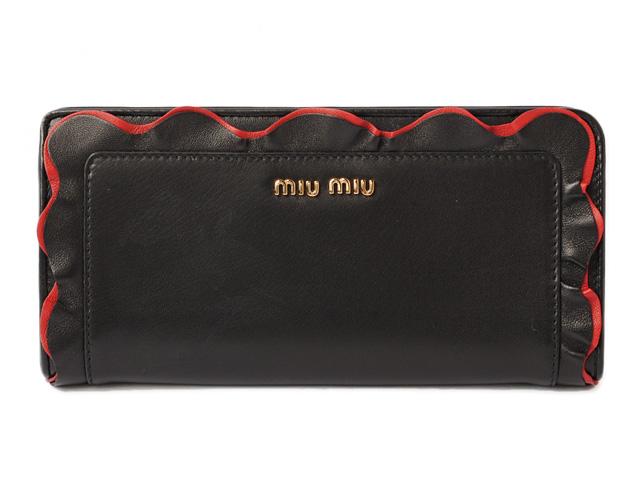 ミュウミュウ 財布 miumiu 長財布/L字ファスナー 5ML010 NAPPA/ナッパ フリル ブラック/レッド 未使用【中古】