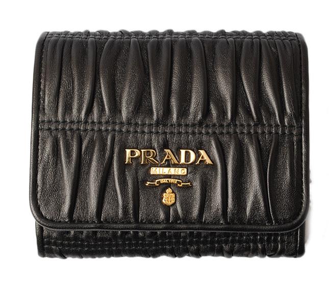 プラダ 財布 PRADA 3折財布 1MH176 NAPPA GAUFRE/ナッパ NERO/ブラック 未使用【中古】