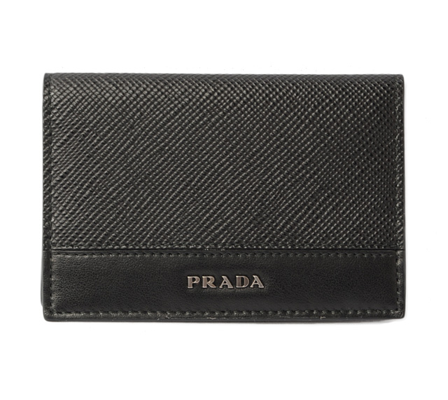 56728bb95ba8 Prada card case / card case PRADA 2MC101 SAFFIANO/ type push leather NERO/  black mint condition