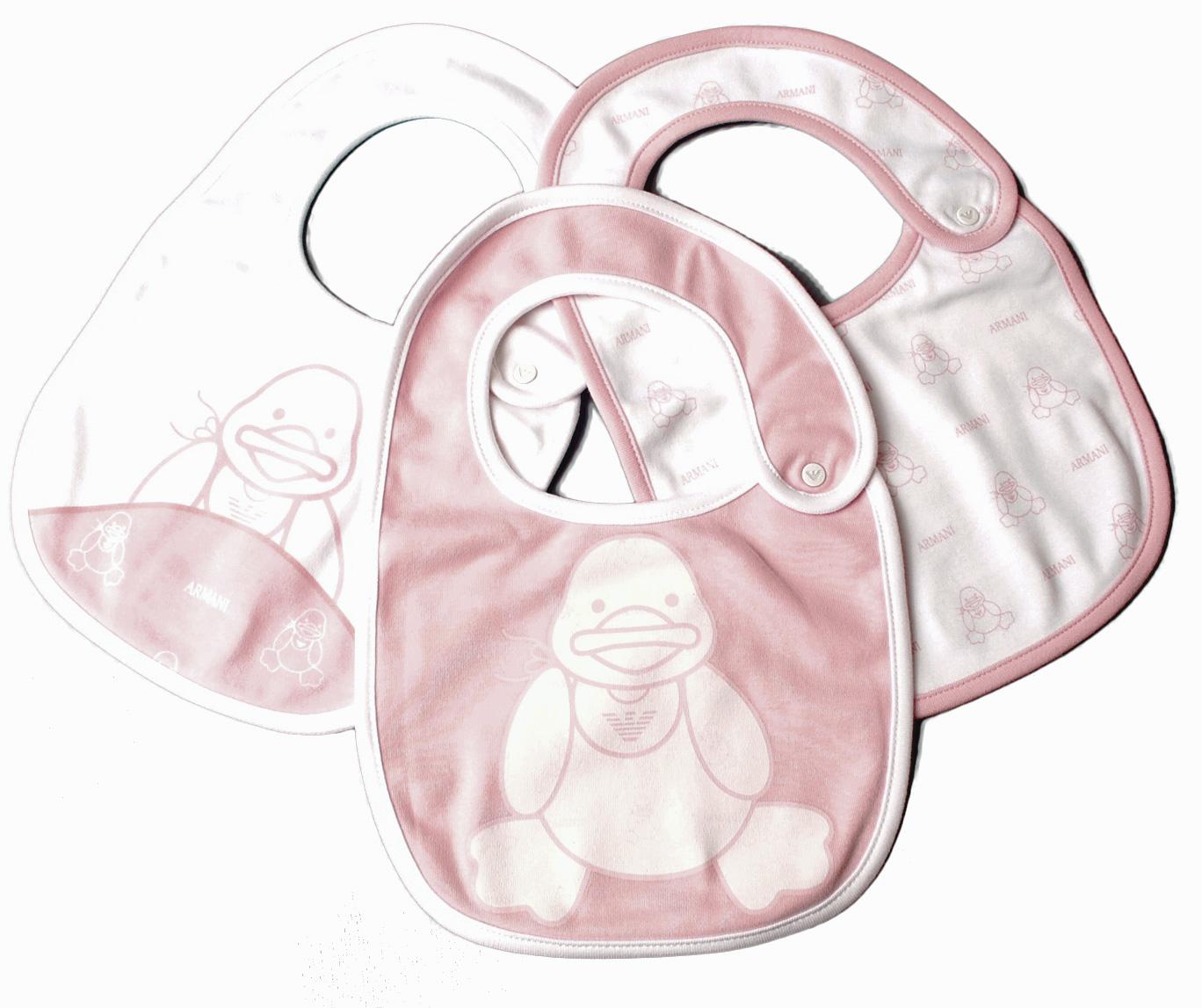 アルマーニベビー スタイ/エプロン 3枚セットギフトボックス付 ARMANI BABY ベビー女の子 ローズピンク/ホワイト 出産祝い
