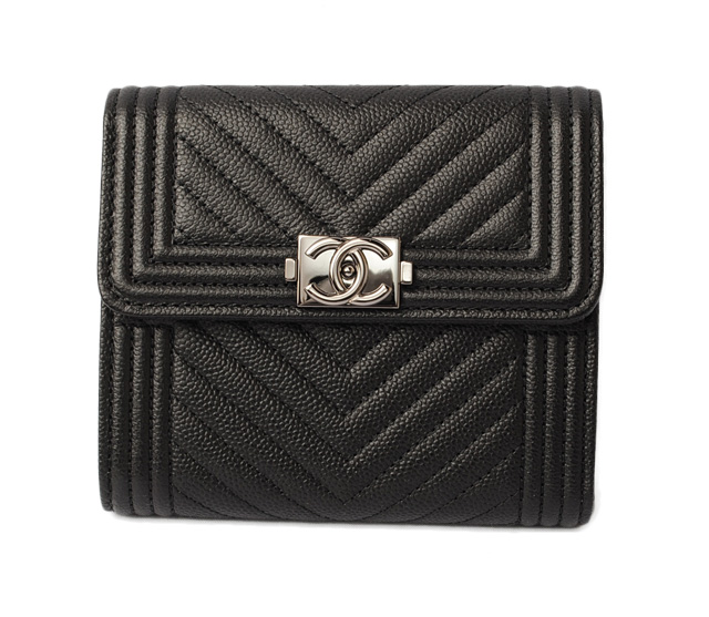 8a19eed53 Chanel wallet CHANEL boy Chanel Chevron three wallet A80734 black / silver  metal fittings mint condition ...