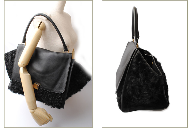 Celine handbag   shoulder bag CELINE trapeze TRAPEZE wool   leather black    gold metal fittings 3895a3a0d65db