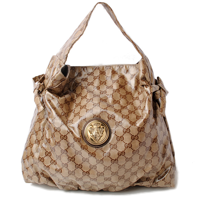 Gucci Shoulder Bag Tote Hysteria Acre Strike Gg Crystal Brown Beige 197061 Mint Condition