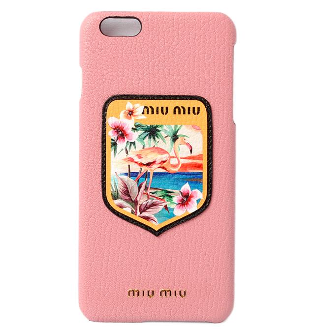 ミュウミュウ iPhone 6 プラスケース/6sプラスケース miumiu iPhoneplus 5ZH007 MADRAS BLASON/マドラス ROSA/ローズ未使用【中古】