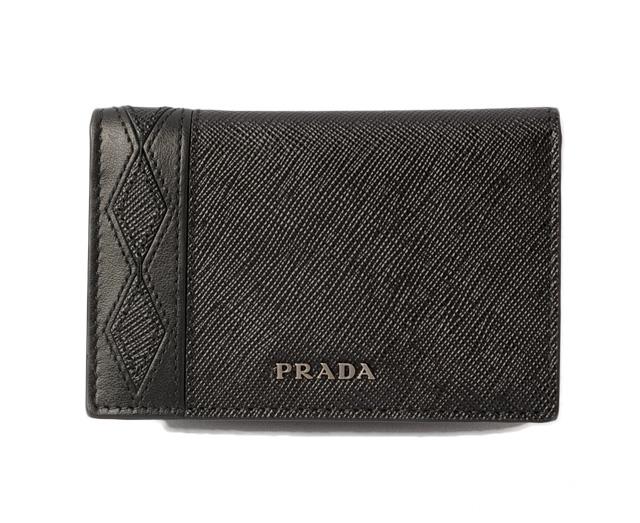 プラダ カードケース/名刺入れ PRADA 2MC101 SAFFIANO/型押しレザー NERO ブラック 未使用【中古】