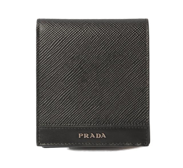 プラダ 財布 PRADA 折財布 2MO738 メンズ SAFFIANO/サフィアノ NERO/ブラック 未使用【中古】