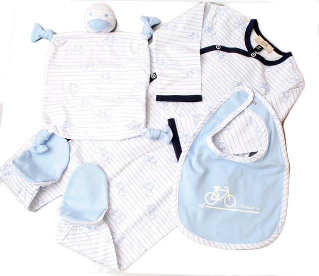 アルマーニベビー ギフトボックス3点セット/新生児ギフト ARMANI BABY ベビー男の子 AZZURRO/アズーロ 出産祝い