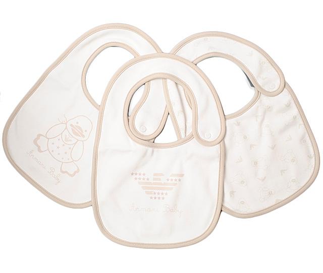アルマーニベビー 出産祝い スタイ/エプロン 3枚セット ギフトボックス付 ARMANI BABY ベビー男女兼用 ベージュ/ホワイト