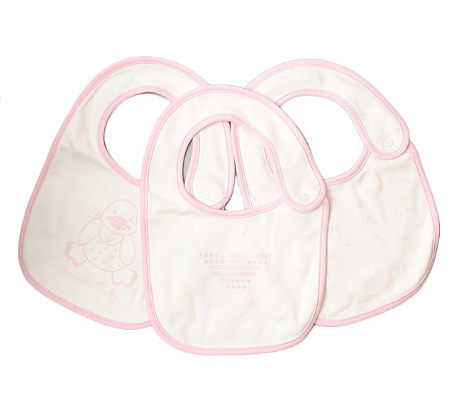アルマーニベビー 出産祝い スタイ/エプロン 3枚セット ギフトボックス付 ARMANI BABY ベビー女の子用 ローズ/ホワイト 出産祝い
