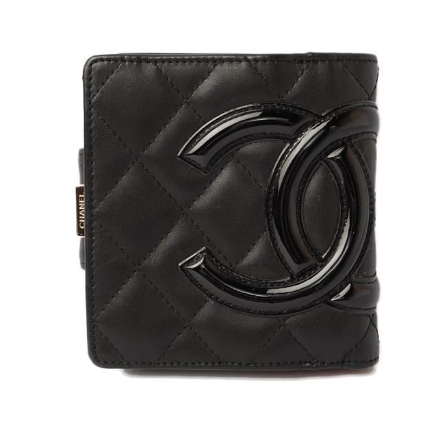 シャネル 財布 CHANEL がま口式 折財布 A26720 カンボン ブラック/ブラック【中古】