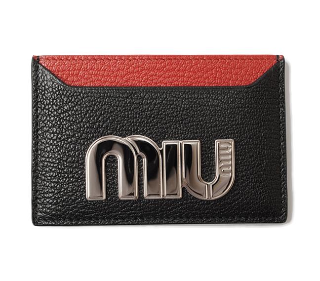 ミュウミュウ カードケース/名刺入れ miumiu 5MC208 MADRAS MIU/マドラス メタルロゴ ブラック/ルージュ 未使用【中古】
