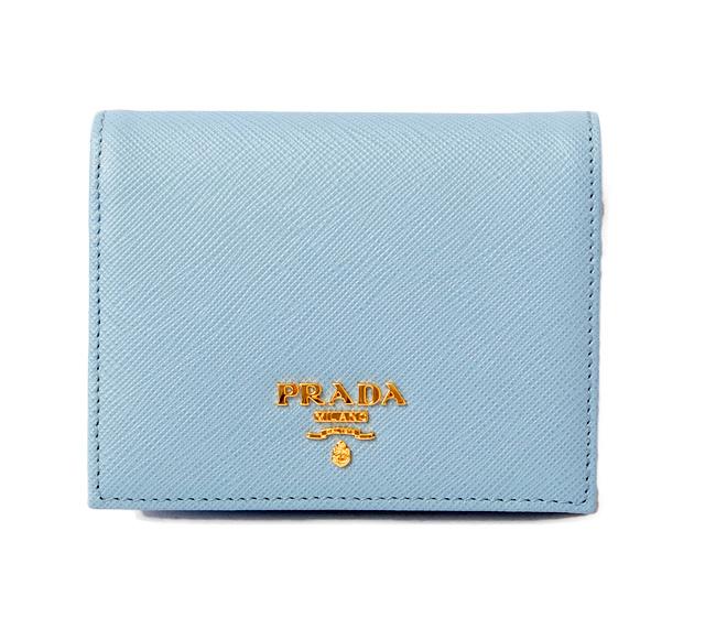 3bd0f9904967 Prada wallet   mini-wallet. PRADA fold wallet 1MV204 SAFFIANO  type push  leather ASTRALE MARE  ライトブルーマルチ