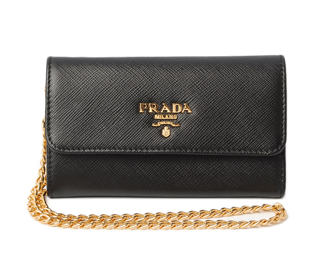 b1c21ec5947b82 1MC015 SAFFIANO/ type push leather NERO/ black with PRADA fold wallet /  chain