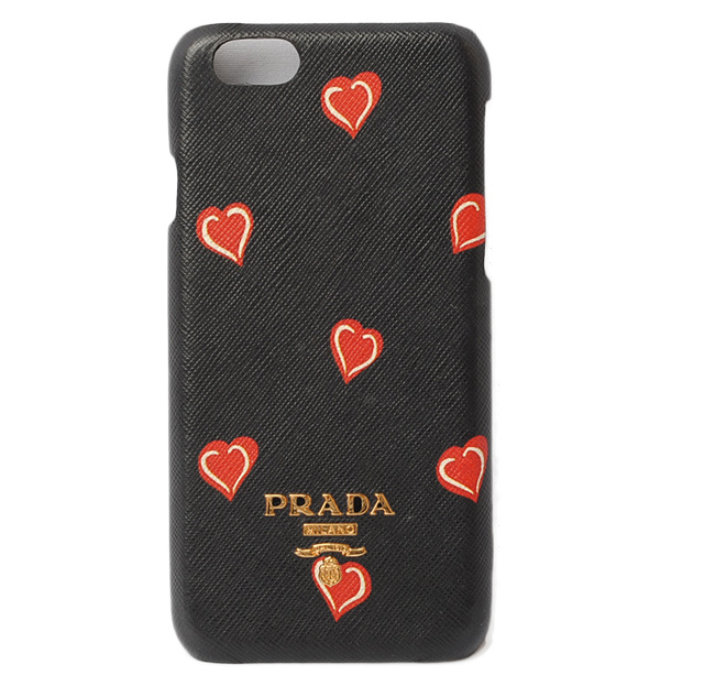 16a56af8cf3b PRADA iPhone case 1ZH008 heart SAFFIANO/ type push leather NERO/ black / red