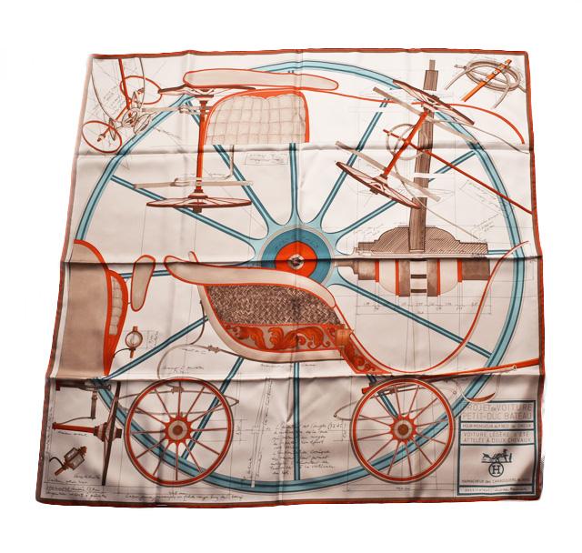 エルメス スカーフ HERMES スカーフ カレ90 シルクツイル ホワイト/ターコイズ/オレンジ 未使用【中古】