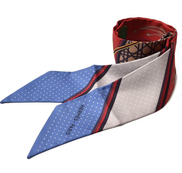 エルメス ツイリー スカーフ HERMES シルクツイル ブルー/レッド/ホワイト系 未使用【中古】